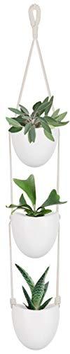 Mkouo Hängeampeln Keramik Blumentopf Hängend Wand Vase Blumenampel deko für Sukkulenten/Kaktus