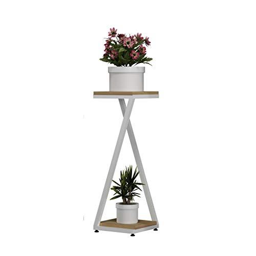 Blumenständer RR Edelstahl-Blumentreppen Mit 2/3 Reihen Balkon-Stand-Pflanzenstandplatz Im Freien Weiße Einfache Blumen-Präsentationsständer (Size : M)