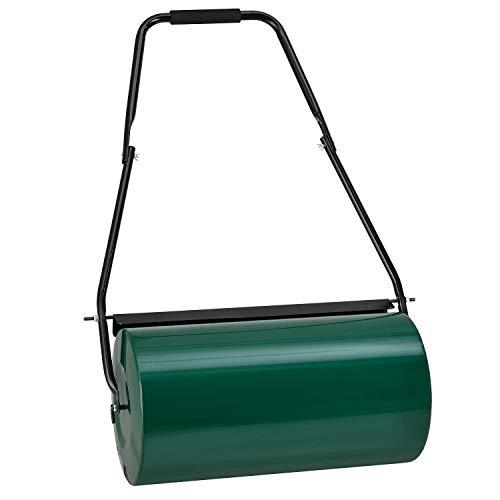 Juskys Garten Rasenwalze Fritz mit Schmutzabweiser- befüllbar mit Wasser/Sand – 48L / 60 kg – Metall Gartenwalze 60 cm – Walze für Rasen & Acker