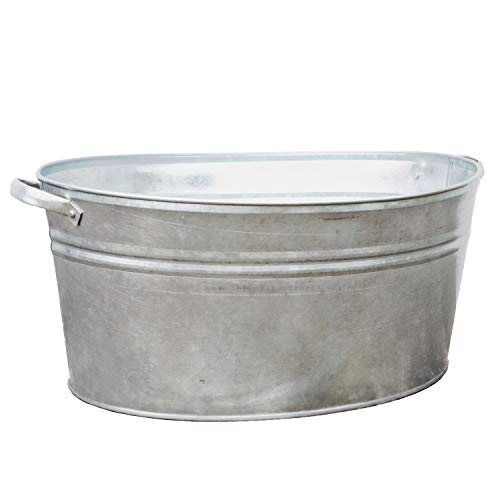 Gartenzaubereien Zinkwanne oval 40 Liter mit stabilen Griffen