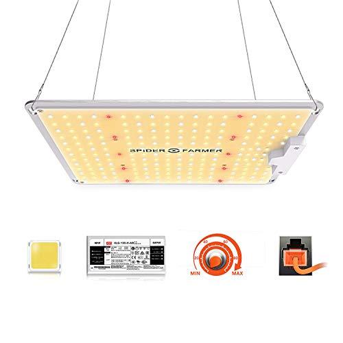 LED Grow Lampe Spider Farmer SF 1000 LED Pflanzenlampe Vollspektrum und Dimmbarer Funktion mit Samsung LM301 LEDs & Mean Well Driver LED Grow Light Wachstumslampe für Zimmerpflanzen, Gemüse, Blume