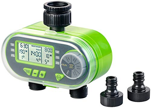 Royal Gardineer Bewässerungsuhr: Digitaler Bewässerungscomputer BWC-200 mit 2 Anschlüssen (Beregnungscomputer)