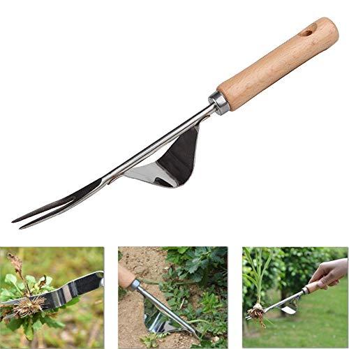 YAVO-EU Unkrautstecher Edelstahl Ampferstecher zur Garden Grundausstattung mit Holzgriff Gartengeräte Gartenwerkzeug