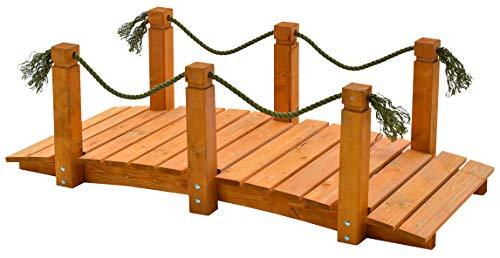 GASPO Teichbrücke   Gartenbrücke aus massivem Kiefernholz   152 x 67 x 50 cm   Qualität aus Österreich   einfaches Bausatzsystem