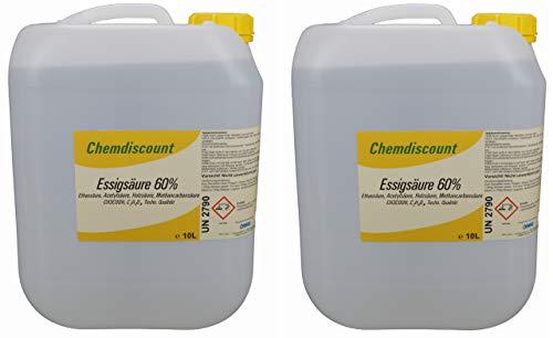 Chemdiscount 20Liter (2x10Liter, ca. 21,3kg) Essigsäure 60%