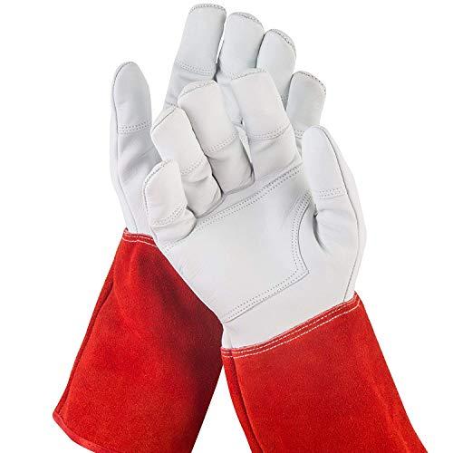 NoCry dornensichere und stichfeste Gartenhandschuhe aus Leder mit extra langem Unterarm-Schaft, verstärkten Handflächen und Fingerspitzen, Größe S, 1 Paar
