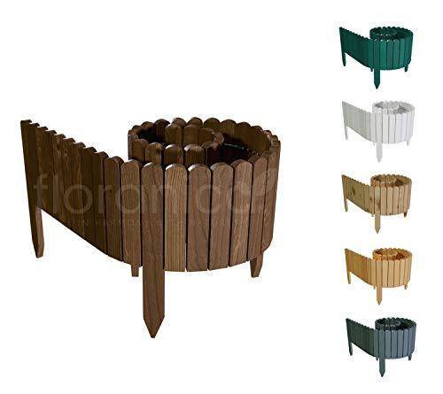 Floranica Flexibler Beetzaun 203 cm (kürzbar) aus Holz | als Steckzaun Rollborder | Beeteinfassung | Kanteneinfassung |Rasenkante oder Palisade | Imprägniert, Höhe:30 cm, Farbe:braun