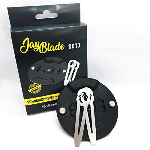 JayBladeSet1 Metallmesser Set für Akku-Rasentrimmer | Ersatzmesser | Einhell - Gardol - Mr. Gardener - Gartenmeister - inklusive Schneidscheibe - statt Nylonmesser oder Kunststoffmesser