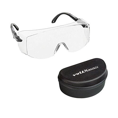 voltX 'OVERSPECS' Gewerbliche Schutzbrille für Brillenträger im Industriewesen mit Schutzhülle - CE EN166f - individuell anpassbarer Bügel - beschlagfrei, Kratzfest, UV400 Schutz - Safety Overglasses