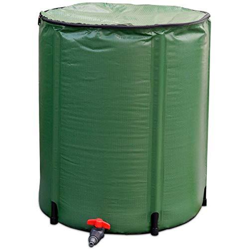 Goflame Regenfass Wassersammler, tragbar, faltbar, faltbar, Zapfenfilter, Wasserbehälter, Grün 50 Gallon