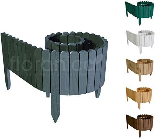 Floranica Flexibler Beetzaun 203 cm (kürzbar) aus Holz | als Steckzaun Rollborder | Beeteinfassung | Kanteneinfassung |Rasenkante oder Palisade | Imprägniert, Höhe:30 cm, Farbe:Anthrazit