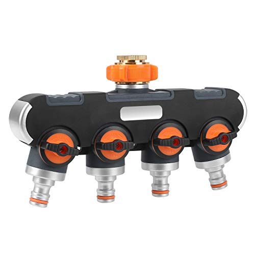 FIXKIT 4-Wege-Verteiler: 3/4' und 1/2' Wasser Verteiler mit Wasserhahn Adapter zu Garten Bewässerungsuhr &Gartenschlauch,Wasserdurchfluss regulier- und absperrbar