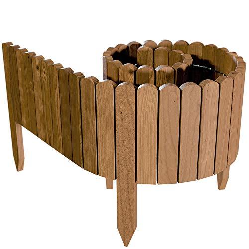 Floranica Flexibeler Beetzaun 203 cm (kürzbar) aus Holz als Steckzaun Rollborder, Beeteinfassung, Kanteneinfassung, Rasenkante oder Palisade - wetterfest imprägniert, Höhe:30 cm, Farbe:braun