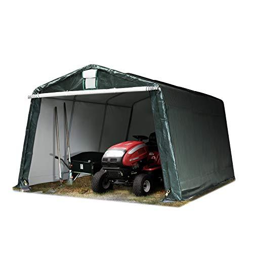 TOOLPORT Garagenzelt Carport 3,3 x 4,8 m in dunkelgrün Weidezelt Unterstand Lagerzelt mit 260 g/m² Plane und Stabiler Stahlrohrkonstruktion