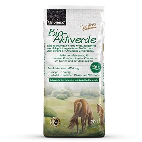 bionero Bio-Aktiverde 20l, Terra Preta für mehrfache Ertragssteigerung beim Gärtnern, Bodenaktivator zu 100% aus heimischen Rohstoffen, natürliche CO2 Bindung durch Pflanzenkohle