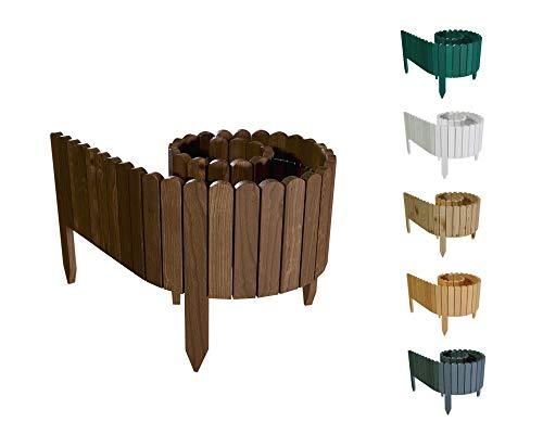 Floranica® Flexibler Beetzaun 203 cm (kürzbar) aus Holz | als Steckzaun Rollborder | Beeteinfassung | Kanteneinfassung |Rasenkante oder Palisade | wetterfest imprägniert, Höhe:40 cm, Farbe:Braun