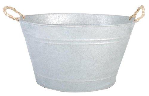 Esschert Design Gartenwanne, Pflanzwanne in grau aus verzinktem Metall, 30 Liter, ca. 47,5 cm x 38,4 cm x 26,2 cm