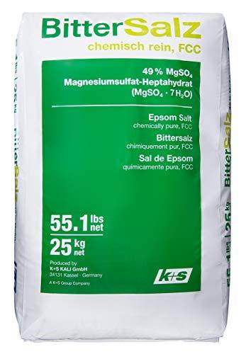 Purux Bittersalz Magnesiumsulfat Badesalz 25kg, MgSO4 Food Grade Epsom Salz