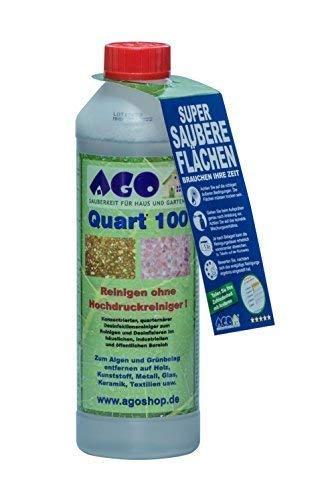 AGO Quart 100 Grünbelag Entferner Chlorfrei & Säurefrei I 500 ml Flechten & Algen Entferner Reiniger-Konzentrat für 100qm