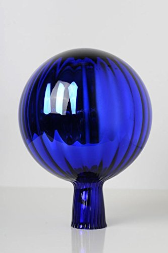 Rosenkugel aus Glas für den Garten – perfekte handgemachte Garten-Dekoration für Ihr Blumenbeetin vielen Farben, Formen und Größen, Hoche 21cm und Durchschnittlich 15cm, Blau