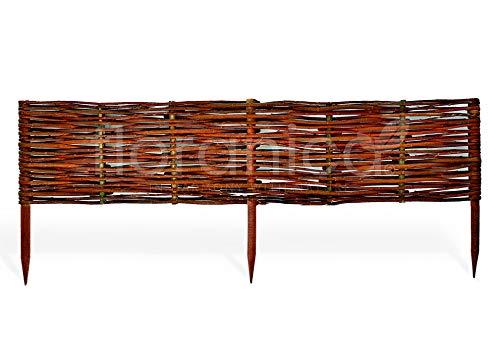 Floranica Beeteinfassung, Weiden-Zaun, Steckzaun in 25 Größen, imprägniert mit Buchepflöcke für längere Haltbarkeit, Beet-Umrandung, Weg-Abgrenzung, Länge:1 STK. x 100 cm, Höhe:20 cm