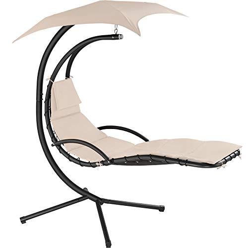 TecTake 800699 Hängeliege mit Gestell und Sonnendach mit UV Schutz, 195 x 118 x 202 cm, ergonomisch geformte Liegefläche, inkl. Sitz- und Kopfpolster - Diverse Farben – (Beige | Nr. 403073)