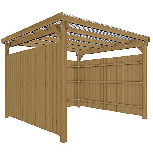 GHS Unterstand, Überdachung 3x3 m mit 3 Seiten Wetterschutzverkleidung Fahrrad + Motorrad, Gartengeräte + Gartenmöbel