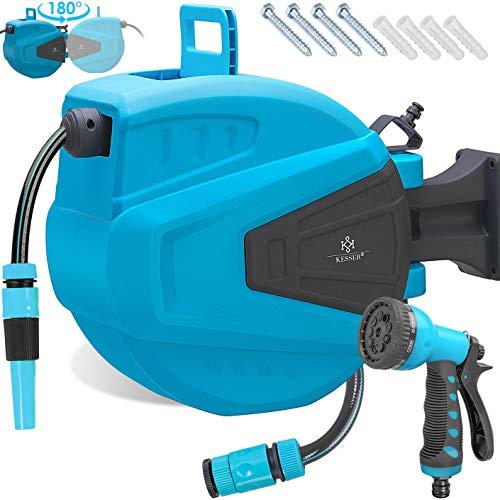 KESSER Schlauchtrommel 15+2m Schlauchaufroller Wasser   Multi-Handbrause   180° Schwenkbar   Aufwickelstopper   Wandhalterung   Wand-Schlauchbox   Wasserschlauchtrommel   Gartenschlauch   Blau
