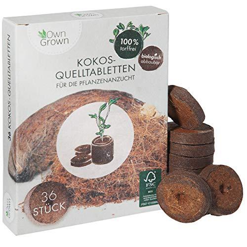 Kokos Quelltabletten mit Nährstoffen – 36 Stück, Kokoserde gepresst zur Pflanzen Anzucht ohne Pikieren, torffrei – Anzucht Erde Kokos von OwnGrown