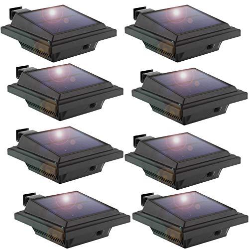 LED Solar Dachrinnenleuchte,KEENZO Solarlampen für Außen, 25LEDs Solarlicht, Auto ON/OFF, Schwarz, Kaltweißes Licht (8er set)