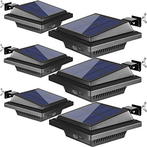 BILLION DUO Dachrinne Solarleuchte mit Bewegungsmelder 40 LEDs | Solarlampen für Außen | Schwarz Gartenbeleuchtung Warmweißes Solarlicht, 3W PIR Sicherheitswandleuchte Außenlampe für Garage, Patio