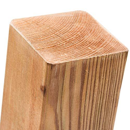 Imprägnierte Holzpfosten (KDI) 9x9x120cm · Vierkant Zaunpfähle in 18 Größen aus Kiefer mit flachem Kopf (Flachkopf)
