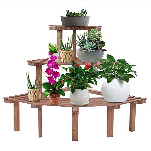 Pflanzenständer Blumenständer Holz 3 Tiers Blumentopfständer Blumentreppe Blumenregal für Innen Balkon Outdoor Garten Terrasse 85 x 60 x 57 cm