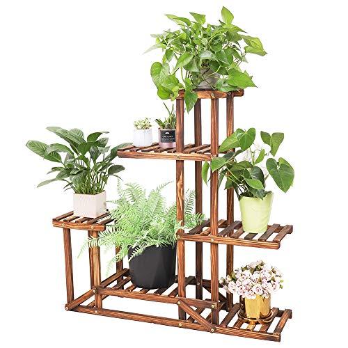 Wisfor Blumentreppe Holz, 5 Ebenen Blumenständer Pflanzentreppe für Innen-Balkon Wohzimmer Outdoor Garten Deko, mehrstöckig Blumenregal 96x95x25cm