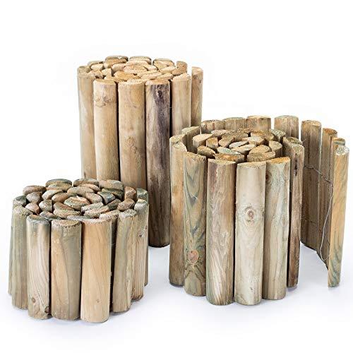 BooGardi Rollborder aus Holz • 3 Größen • als Rasenkante/Beeteinfassung oder Beetzaun (200, 30)