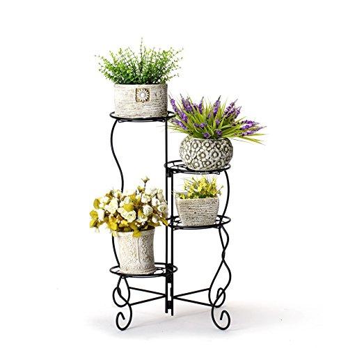 Worth Garten Drehbar Blumenständer Metall Pflanzenständer Ablagen Blumentreppe für 4 Blumentopfe Pflanzregal Garten dekor Haus Balkon Terrasse schwarz