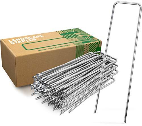 GardenGloss Anti-Rost Erdanker aus Stahl (50 Stück) - Stabile Bodenanker für Unkrautvlies, Gartenvlies, Zaun & Camping - 150 MM Lang, 30 MM Breit, Ø 3 MM