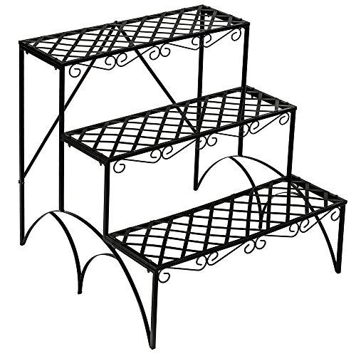 TecTake Pflanzentreppe Blumenbank 3 Stufen - belastbar bis 30 kg - ca. 60x60x60cm - Diverse Modelle (Stufen gerade | Nummer 401711)