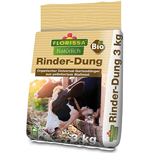 Florissa Natürlich 58511 Bio Rinder-Dung | pelletiert für einfache Anwendung | ideal zur Humusbildung und Bodenverbesserung (3 kg), Braun