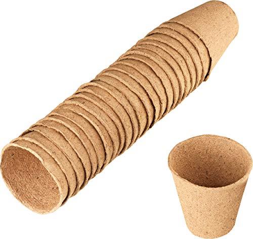 Connex Anzuchttöpfe Ø 6 cm - Praktisches Set mit 24 Stück - 100% torffrei aus PEFC-zertifizierter Zellulose - Biologisch abbaubar / Pflanztopf / Saattopf / Pflanzenanzucht / FLOR79100