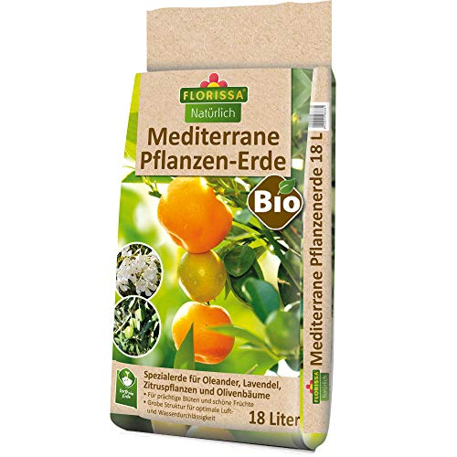 Florissa Natürlich 58686 Bio Erde (18 l) | torffrei | für Oleander, Lavendel, Zitruspflanzen, Olivenbäume und alle Anderen mediterranen Pflanzen, Braun