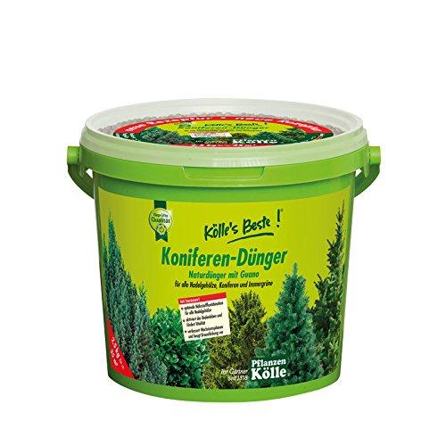 Kölle's Beste! Koniferendünger für satt grüne und dichte Blätter, praktisches Granulat, hochwertiger Guano Dünger, für Garten und Kübel im Frühjahr, 1 kg 2,5 kg