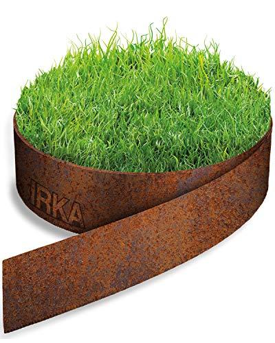 IRKA Rasenkantenband Cortenstahl Garten 15cm x 20m x 1mm | Cortenstahl Rasenkante Rost mit Versteifungskante 15 cm | Flexible Beeteinfassung Metall Rost | Rasenkante aus Cortenstahl