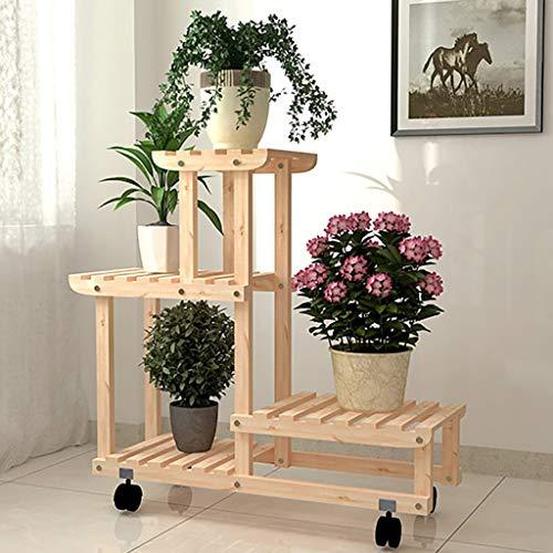 YXWa Blumentreppe Pflanzenständer aus mehrschichtigem Blumenständer mit Bodenständer mit Rollen, 75 x 25 x 76 cm (LxBxH), braun gartenregal (Farbe : Beige)