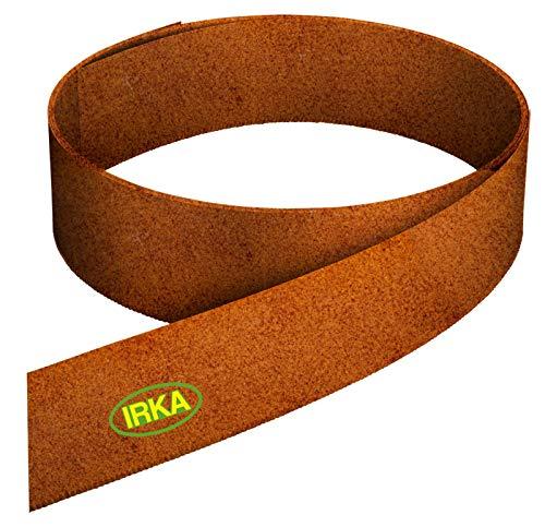 IRKA Rasenkantenband aus Corten Stahl 15 cm hoch Rasenkante mit Versteifungskante Beeteinfassung 20 Meter