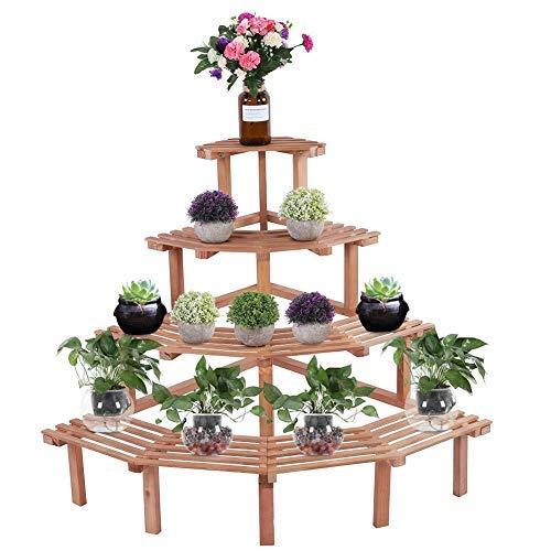 Duokon Pflanzentreppe Blumenbank, 4 Tiers Kiefernholz Ecke Blumen Topf Steht Pflanze Display Regal Blumentreppen Dekoration(Naturholz)
