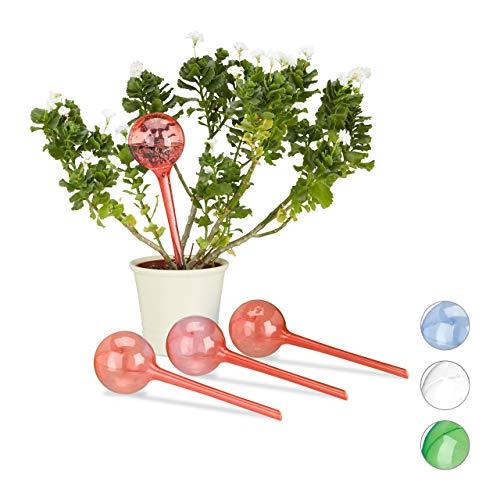 Relaxdays Bewässerungskugeln, 4er Set, 2 Wochen, Versenkbar, Topfpflanzen, Dosierte Bewässerung 250 ml, Kunststoff, rot, 4 Stück