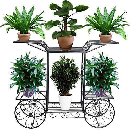 Blumentreppe 2 Ebenen, Aus Metall, Blumenständer für innen und außen, HBT: ca. 67x 79 x 25 cm (Schwarz)