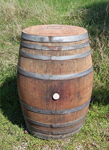 Temesso Regentonne, Holzfass, Weinfass Barrique, Fass aus Eiche, Eichenholz -300 Liter (Fass geöffnet mit Deckel)