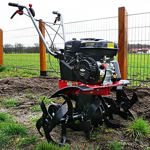 HECHT starke 4,8 kW / 6,5 PS Benzin Motorhacke I 4-Takt Motor I 32-84 cm Arbeitsbreite I 24 robuste Messer – bis 32 cm tief Gar-ten umgraben und Boden auflockern I Gartenfräse - Bodenfräse